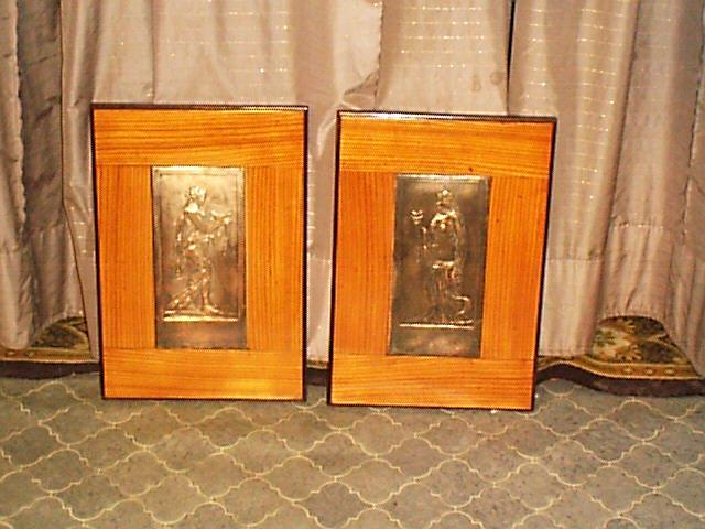 2 Reliefarbeiten im Eschenholzrahmen, Jugendstiel um 1920.